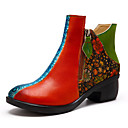 olcso Női csizmák-Női Közepesen magas szárú bakancs Nappa Leather Tavasz & Ősz Vintage Csizmák Vaskosabb sarok Bokacsizmák Piros