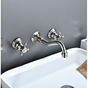 Χαμηλού Κόστους Βρύσες Νιπτήρα Μπάνιου-Μπάνιο βρύση νεροχύτη - Εκτεταμένο Νικέλιο Λουστρέ Αναμεικτικές με ξεχωριστές βαλβίδες Δύο λαβές τρεις οπές