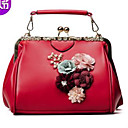 povoljno Torbe preko ramena-Žene Torbe PU Torba za rame Aplikacije Crn / Red / Blushing Pink