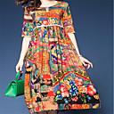 cheap LED Strip Lights-Women's Daily Boho Loose A Line Dress - Floral Print High Waist Spring Red L XL XXL