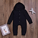 cheap Baby Girls' One-Piece-Baby Boys' Basic Daily Solid Colored Basic Long Sleeve Cotton Romper Black / Toddler