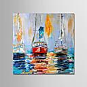 abordables Peintures de Paysages-Peinture à l'huile Hang-peint Peint à la main - Abstrait Moderne Inclure cadre intérieur / Toile tendue