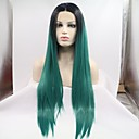 cheap Synthetic Lace Wigs-Synthetic Lace Front Wig Women's kinky Straight Black Layered Haircut 130% Density Synthetic Hair 26 inch Women Black / Green Wig Mid Length Lace Front Black / Green Sylvia / Yes