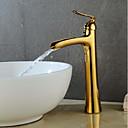 זול ברזים לחדר האמבטיה-חדר רחצה כיור ברז - מפל מים מוזהב / צביעה סט מרכזי חור ידית אחת אחת