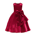 cheap Girls' Dresses-Kids / Toddler Girls' Active / Sweet Party / Holiday Solid Colored Bow Sleeveless Knee-length Dress Blue