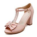 povoljno Cvijeće za vjenčanje-Žene Udobne cipele PU Ljeto Sandale Kockasta potpetica Obala / Plava / Pink