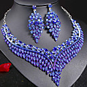 cheap Necklaces-Women's Gemstone Tennis Chain Jewelry Set - Leaf Stylish, Unique Design, Dangling Style Include Bridal Jewelry Sets Dark Blue / Rainbow / Red For Party Gift