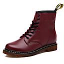 baratos Sapatos de Salto-Mulheres Sapatos de couro Couro Outono & inverno Clássico / Formais Botas Sem Salto Preto / Marron / Vinho