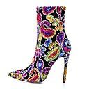 preiswerte Damen Sandalen-Damen Fashion Boots Kunststoff Herbst Winter Retro Stiefel Stöckelabsatz Spitze Zehe Mittelhohe Stiefel Spitze Schwarz / Rot / Schwarz / blau / Party & Festivität / Einfarbig