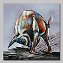 baratos Pinturas Pessoas-Pintura a Óleo Pintados à mão - Abstrato / Arte Pop Modern Incluir moldura interna / Lona esticada