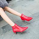 זול מגפי נשים-בגדי ריקוד נשים Fashion Boots דמוי עור סתיו חורף מגפיים עקב קצר בוהן מחודדת מגפונים\מגף קרסול לבן / שחור / אדום