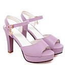povoljno Ženske sandale-Žene Udobne cipele PU Proljeće Sandale Kockasta potpetica Crvena / Plava / Pink
