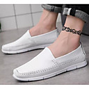 hesapli Erkek Düz Ayakkabıları ve Makosenleri-Erkek Ayakkabı Deri Bahar Mokasen & Bağcıksız Ayakkabılar Günlük için Beyaz / Siyah / Kırmzı