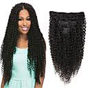 זול תוספות שיער קליפסים-Clip In / On תוספות שיער אדם ישר טבעי שחור תוספות שיער משיער אנושי שיער אנושי שיער ברזיאלי 7 יח ' הגעה חדשה לנשים שחורות בגדי ריקוד נשים - שחור