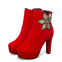 cheap Women's Boots-Women's Fashion Boots Suede Winter Boots Chunky Heel Closed Toe Booties / Ankle Boots Black / Red