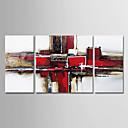 ieftine Includeți cadru interior-Hang-pictate pictură în ulei Pictat manual - Abstract Modern Includeți cadru interior / Trei Panouri / Stretched Canvas