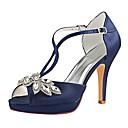 cheap Wedding Shoes-Women's Pumps Satin Summer Wedding Shoes Stiletto Heel Peep Toe Sparkling Glitter / Buckle Dark Blue / Party & Evening