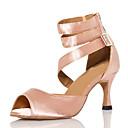 povoljno Cipele za latino plesove-Žene Plesne cipele Saten Cipele za latino plesove Isprepleteni dijelovi Štikle Deblja visoka potpetica Crn / Nude / Seksi blagdanski kostimi / Vježbanje