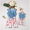 baratos Conjuntos de Roupa para a Família-Mamãe e eu Activo Diário Floral Sem Manga Poliéster Vestido Branco