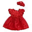 preiswerte Kleider für Babys-Baby Mädchen Grundlegend Alltag Blumen Mehrschichtig / Gitter / Spitzenbesatz Ärmellos Standard Standard Übers Knie Baumwolle / Acryl Kleid Rote