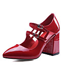 cheap Jewelry Sets-Women's Nappa Leather Spring Sweet / Minimalism Sandals Chunky Heel Pointed Toe White / Black / Red
