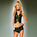 billiga Sexiga uniformer-Outfits Kattdräkt Huddräkt Cosplay Zentai Cosplay-kostymer Svart Enfärgad Korsett Shorts Konstläder Polyester Maskerad