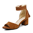 cheap Women's Sandals-Women's Suede Summer Sandals Chunky Heel Beige / Yellow / Red