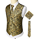 cheap Anime Costumes-Men's Work / Club Business / Luxury / Vintage Spring / Fall / Winter Regular Vest, Paisley V Neck Sleeveless Cotton / Spandex Print Gold XL / XXL / XXXL / Business Casual / Slim