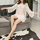 お買い得  バスローブ & ナイトウェア-女性用 スーパーセクシー スーツ ナイトウエア レース, ソリッド ホワイト ブラック フリーサイズ / ストラップ