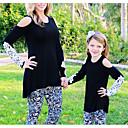 povoljno Obiteljski komplet odjeće-Mama i mene Osnovni Dnevno Geometrijski oblici Dugih rukava Poliester Majica s kratkim rukavima Crn Djevojčicu 110