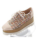 hesapli Kadın Düz Ayakkabıları ve Makosenleri-Kadın's Ayakkabı Nappa Leather Sonbahar Oxford Modeli Dolgu Topuk Kapalı Burun Günlük için Beyaz / Siyah