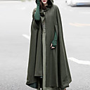 cheap Girls' Shoes-Women's Daily Basic Long Cloak / Capes, Solid Colored Fantastic Beasts Hooded Long Sleeve Wool Hooded Green / Black / Gray M / L / XL