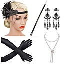 cheap Historical & Vintage Costumes-The Great Gatsby Vintage 1920s Roaring Twenties Roaring 20s Costume Women's Flapper Headband Head Jewelry Pearl Necklace Golden / Golden+Black / Black / White Vintage Cosplay Party Prom Sleeveless