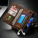 رخيصةأون إكسسوارات-CaseMe غطاء من أجل Samsung Galaxy S7 edge محفظة / حامل البطاقات / مع حامل غطاء كامل للجسم لون سادة قاسي جلد PU إلى S7 edge