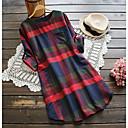 זול שמיכות וכיסויים-עד הברך דפוס, משובץ דמקה - שמלה חולצה מידות גדולות בגדי ריקוד נשים