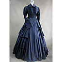 cheap Historical & Vintage Costumes-Victorian Medieval Costume Women's Dress Party Costume Masquerade Dark Blue Vintage Cosplay Lace Cotton Long Sleeve Long Length Ball Gown Plus Size Customized