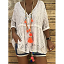 cheap High Quality Duvet Covers-Women's Daily Street chic Plus Size Lace Loose T-shirt - Solid Colored Deep V White XXXL / Sexy