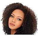 billige Blondeparykker med menneskehår-Ubehandlet Menneskehår Blonde Forside Parykk Brasiliansk hår Kinky Curly Svart Parykk 130% Hair Tetthet Svart Dame Blondeparykker med menneskehår