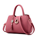 cheap Totes-Women's Bags Faux Leather Tote Tassel Solid Color Drak Red / Light Grey / Wine