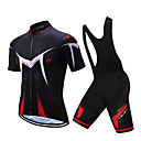 cheap Cycling Jersey & Shorts / Pants Sets-TELEYI Men's Short Sleeve Cycling Jersey with Bib Shorts - White Black Bike Clothing Suit Breathable Quick Dry Sports Polyester Herringbone Mountain Bike MTB Road Bike Cycling Clothing Apparel