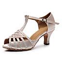 זול נעליים לטיניות-בגדי ריקוד נשים נעלי ריקוד סטן / עור פטנט נעליים לטיניות פרטים מקריסטל / נצנוץ עקבים עקב קובני מותאם אישית בז' / הצגה / אימון