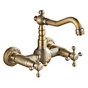 cheap Kitchen Faucets-Kitchen faucet - Two Holes Antique Brass Bar / ­Prep Wall Mounted Traditional / Two Handles Two Holes