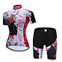 cheap Softshell, Fleece & Hiking Jackets-TELEYI Women's Short Sleeve Cycling Jersey with Shorts Red and White Floral Botanical Bike Clothing Suit Breathable Moisture Wicking Quick Dry Sports Polyester Floral Botanical Mountain Bike MTB Road