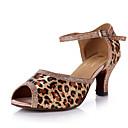 Χαμηλού Κόστους Μοντέρνα παπούτσια-Γυναικεία Παπούτσια χορού λάτιν Σατέν Πέδιλα / Τακούνια Λεοπαρδαλί / Γκλίτερ / Κόψιμο Κουβανικό Τακούνι Εξατομικευμένο Παπούτσια Χορού Λεοπαρδαλί