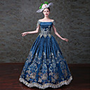 cheap Historical & Vintage Costumes-Queen Princess Rococo Baroque Victorian Ball Gown Costume Women's Masquerade Costume Blue Vintage Cosplay Plush Fabric Short Sleeve Lace Sleeves Floor Length