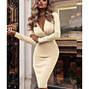 cheap Party Dresses-Women's Party / Daily / WorkWear Basic Slim Bodycon / Sheath Dress - Solid Colored Wrap Deep V Green Red Beige L XL XXL / Sexy