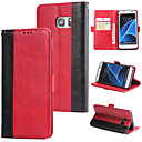 hesapli Cep Telefonu Kılıfları-Pouzdro Uyumluluk Samsung Galaxy S7 edge Cüzdan / Kart Tutucu / Flip Arka Kapak Solid Sert PU Deri