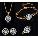 cheap Jewelry Sets-Women's Clear Cubic Zirconia Tennis Chain Jewelry Set - Imitation Diamond Blessed Unique Design Include Chain Bracelet Pendant Necklace Earrings Ring Gold / Silver For Party Daily