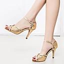 hesapli Latin Dans Ayakkabıları-Kadın's Dans Ayakkabıları PU Latin Dans Ayakkabıları Ayrık Renkler Sandaletler / Spor Ayakkabı İnce Topuk Kişiselleştirilmiş Altın / Performans / Deri