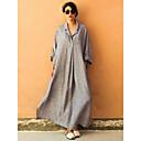 preiswerte Bad Zubehör-Damen Übergrössen Elegant Lose überdimensional Abaya Kleid Solide Maxi Hemdkragen